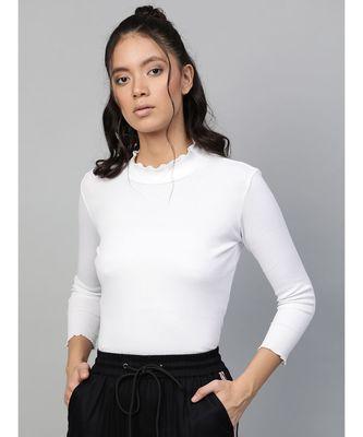 White Rib High Neck Full Sleeve Top