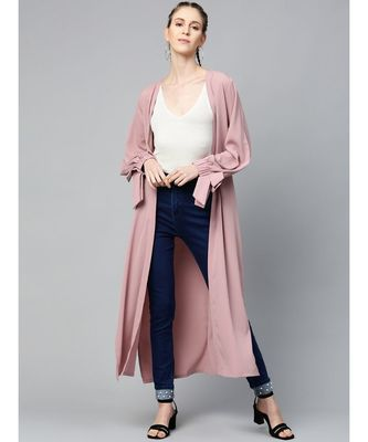 Baked Pink Solid Front Open Shrug