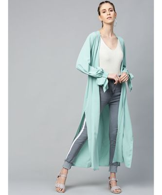 Sea Green Solid Front Open Shrug