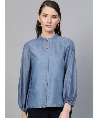 Blue Gather Sleeve Denim Shirt
