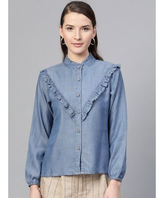 Blue Front Frilly Denim Shirt