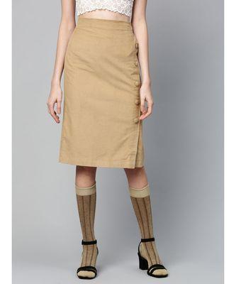 Beige Corduroy Side Button Midi Skirt