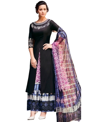 Black Embroidered cotton semi stitched sawlar with dupatta