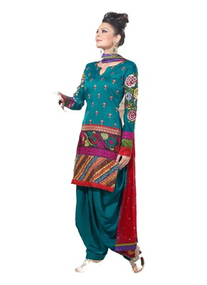 Blue Embroidered Crepe semi stitched sawlar with dupatta