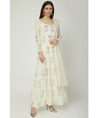 Show Shaa Off White SCOTTISH THISTLE Metallic gergette ANARKALI