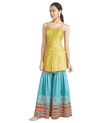 Show Shaa CHEVRON GARARA SET WITH Block printed silk strap tunic