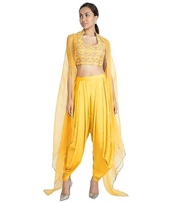 Show Shaa YELLOW Floral  embroided CROP TOP & DHOTI PANT accompanied by Organza Overall