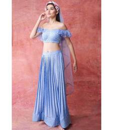 Show Shaa Ice Blue PRESS PLEATED SKIRT WITH RUFFLE SLEEVE CROP TOP
