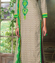 Buy chiku embroidered Cotton unstitched salwar with dupatta dress-material online