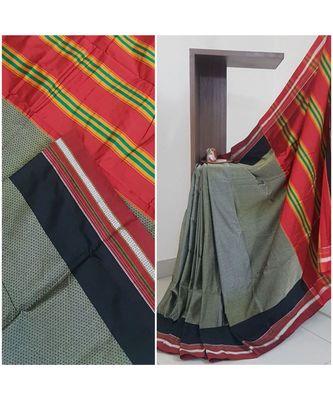 Grey khun/khana saree with ilkal pallu