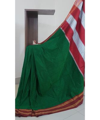 Green khun/khana saree with ilkal pallu