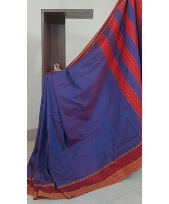 Blue south cotton blend saree