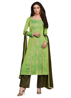 Green Embroidered art silk semi stitched sawlar with dupatta