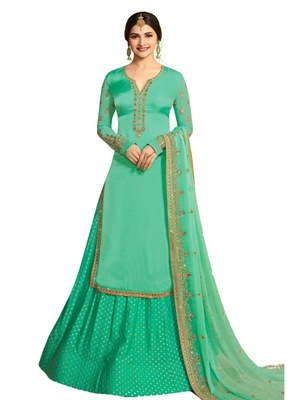 Green Embroidered Crepe semi stitched sawlar with dupatta