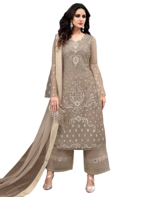 Grey Embroidered Net semi stitched sawlar with dupatta