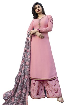 Light pink Embroidered Art Silk semi stitched sawlar with dupatta