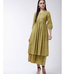 Yellow Printed Cotton Flared Kurta