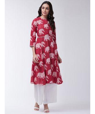 Red Printed Cotton Flared Kurta