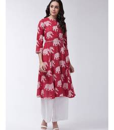 Red Printed Cotton Flared Kurta