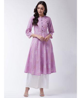 Pink Printed Cotton Flared Kurta