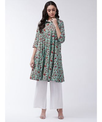 Multicolor Printed Cotton Flared Kurta