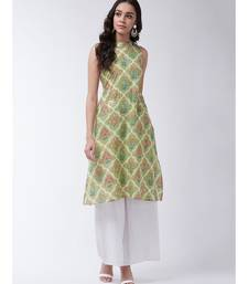 Green Printed Cotton Flared Kurta