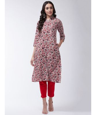 Cream Printed Cotton Flared Kurta
