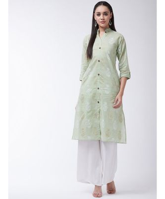 Green Printed Cotton Flared Kurta