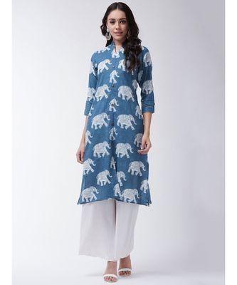 Blue Printed Cotton Flared Kurta