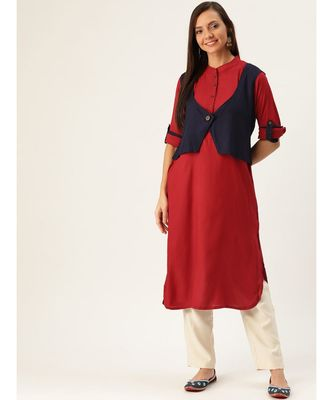 Maroon Printed Viscose Flared Kurta