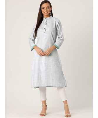 Grey Printed Cotton Flared Kurta
