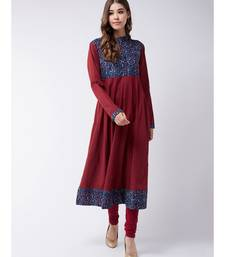 Maroon Printed Cotton Flared Kurta