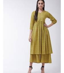 Yellow Printed Cotton Flared Kurti Set