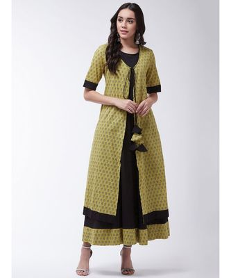 Black Printed Cotton Anarkali Kurti Set