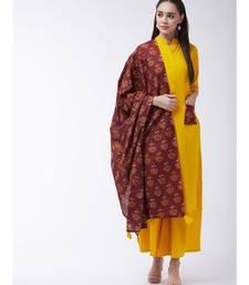 Yellow Printed Cotton Straight Kurti Set
