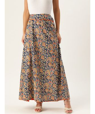 blue printed cotton a-line skirt
