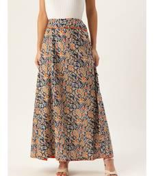 blue printed cotton a-line skirt