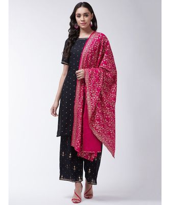 Black Printed Viscose Straight Kurti Set