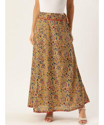 yellow printed cotton a-line skirt