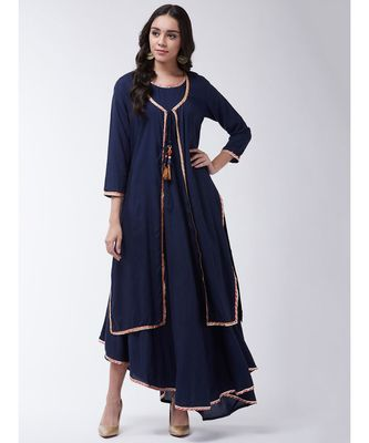 Navy Printed Viscose Flared Kurti Set