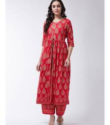 Red Printed Viscose Flared Kurti Set