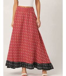 red printed cotton a-line skirt