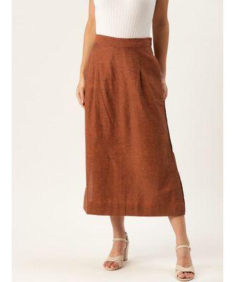 brown printed cotton a-line skirt