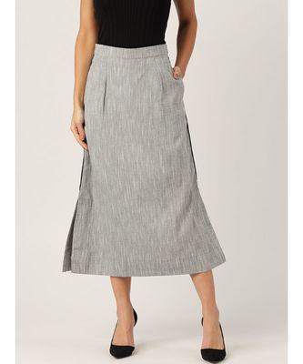 grey printed cotton a-line skirt