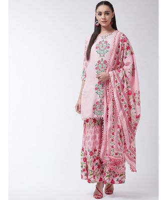 Pink Printed Viscose Straight Kurti Set