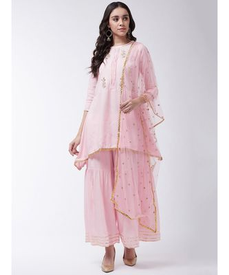 Pink Printed Viscose A-Line Kurti Set
