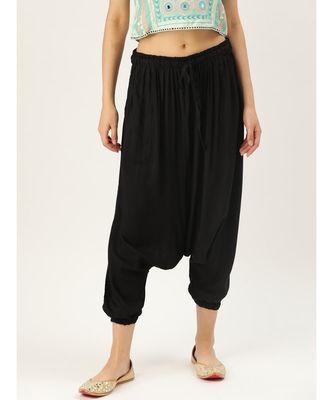 black plain cotton relaxed fit trouser pant