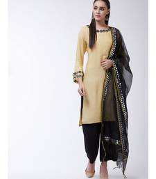 Beige Printed Viscose Straight Kurti Set