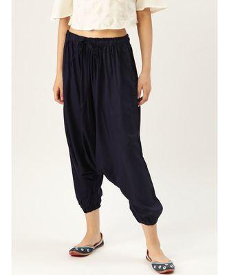 navy plain cotton relaxed fit trouser pant