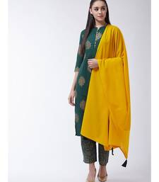 Green Printed Cotton Straight Kurti Set